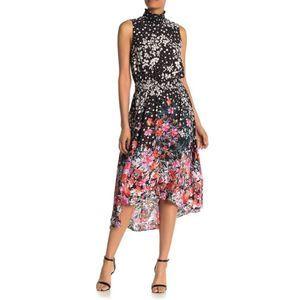Nanette Lepore Sleeveless Midi Dress Coral Black